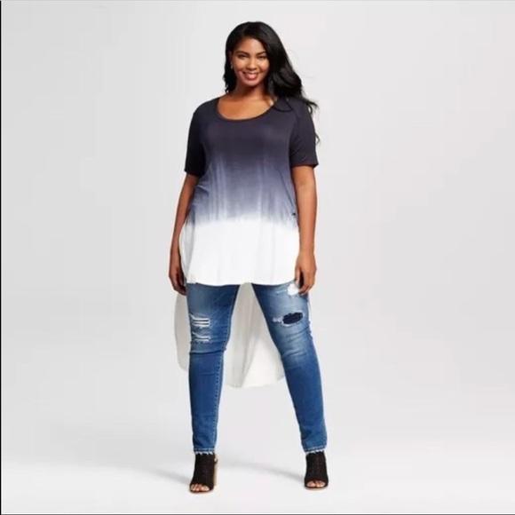 1d540e20cb9 Ava   Viv Plus Size X Hi Low Tunic Blouse Dip Dye